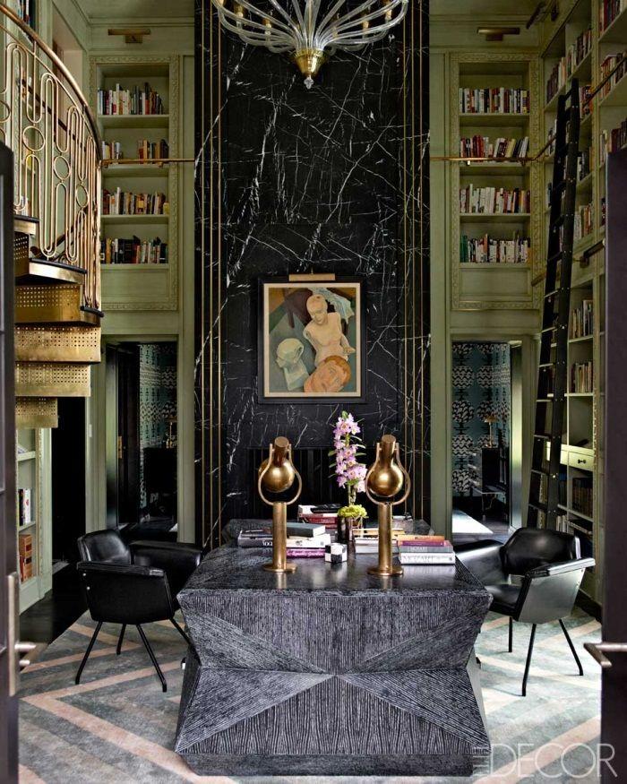 Elle Decor, Kelly Wearstler, Mercer Island, Washington, Library, Custom Rug, aa700p.jpg 700×875 pixels