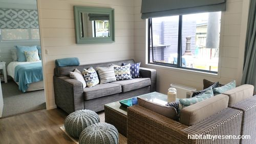 What was once a dark interior is now light and bright space thanks to painting the timber walls in Resene Half Sea Fog. Project by Jackie Jones. http://www.habitatbyresene.co.nz/jackie-and-jeremys-stunning-upcycled-bac