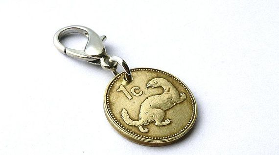 Malta, Zipper charm, 1991, Coin charm, Weasel, Animal charm, Zipper pull, Women's accessory, Girls gift, Coins, Charms, Accessories, Jewelry