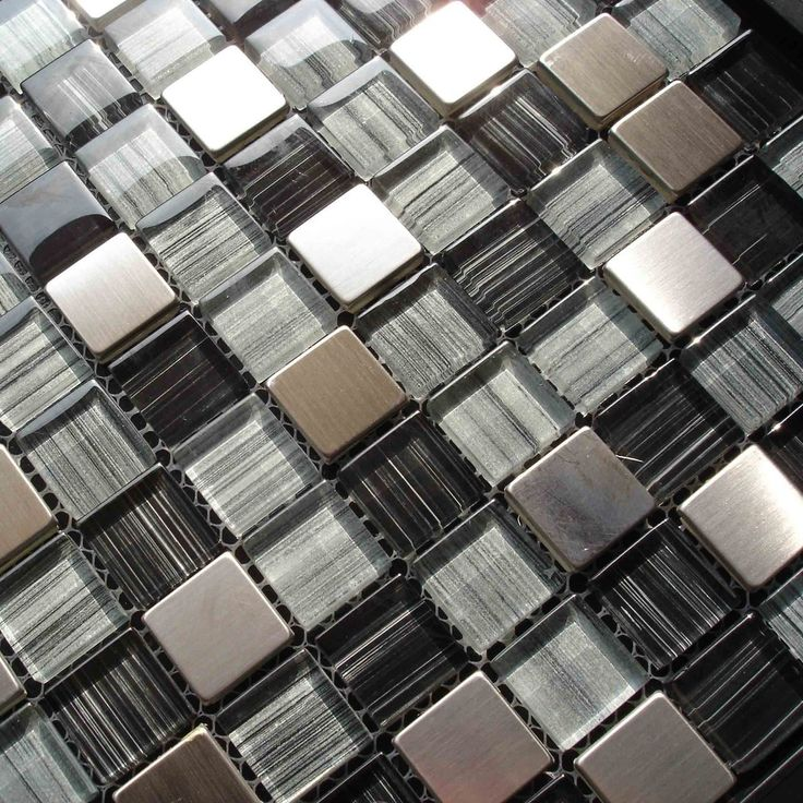 ExoTiles - HG-SH100 Blue Glass Mix Metal Mosaic, $17.00…