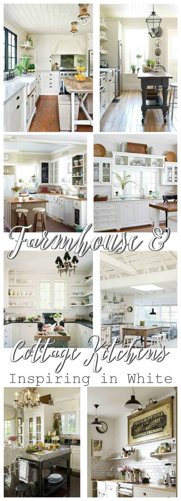 So many vintage to cozy Farmhouse Cottage Kitchens at http://foxhollowcottage.com - Ideas for decorating, inspiring in White!
