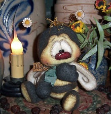 Primitive Raggedy Bumble Bee Bear Bug 4 Flower Doll ★ Vtg Pattis Ratties Ornie