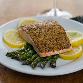 Mustard Crusted Salmon with Roasted Asparagus is a quick and easy gluten-free, paleo dinner you can have on the table in 15 minutes. | gluten free, paleo, whole30  | cookeatpaleo.com