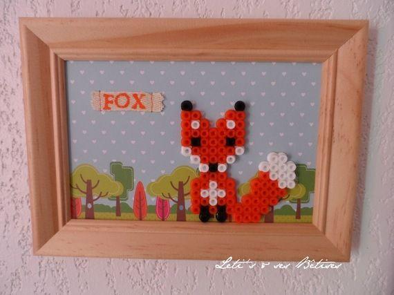 Framed fox hama perler beads by letissesbetises