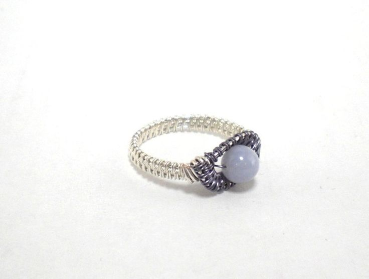 Ring ~ Silber/Lila mit Chalcedon