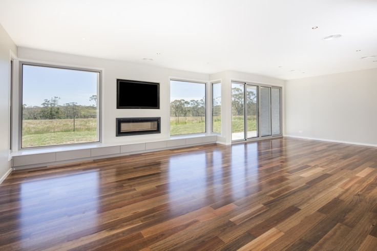 Country rural property - living space with built in joinery with storage, gas log fire and wired entertainment unit