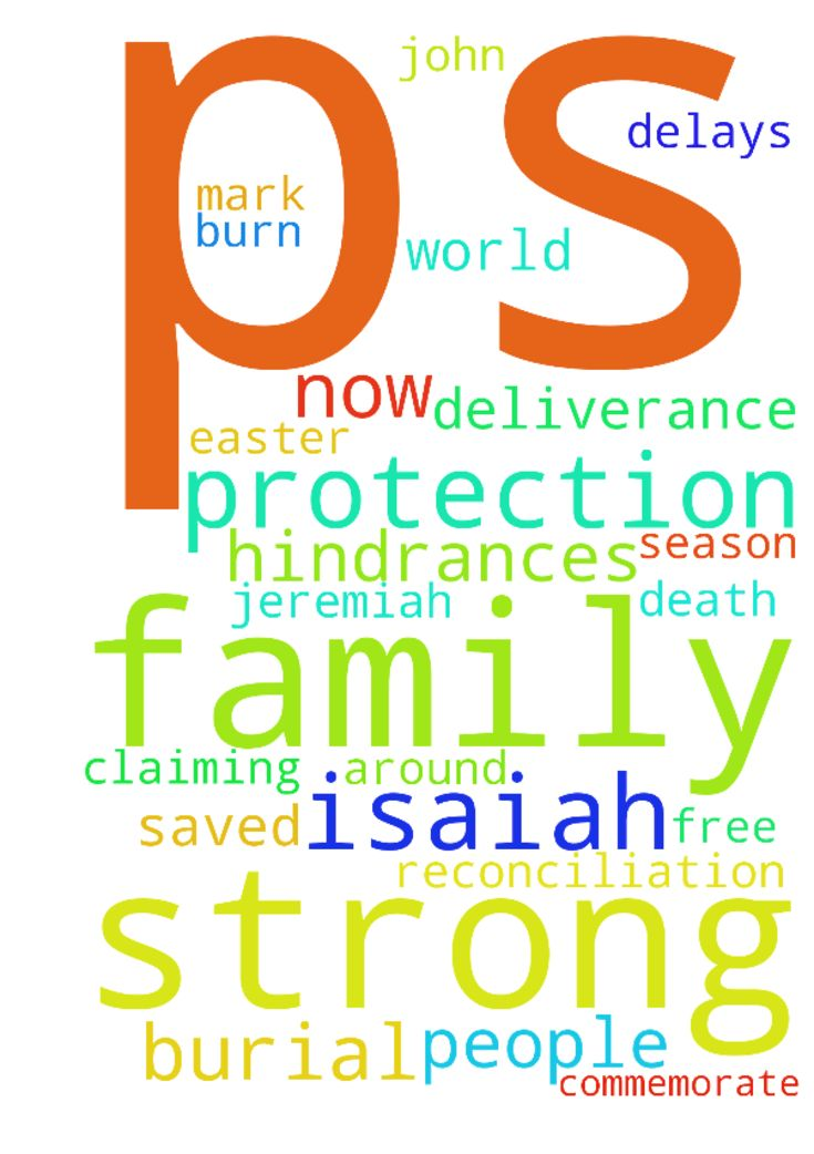 Praying for strong protection for my family and I (Ps. - Praying for strong protection for my family and I Ps. 91, Ps. 347, Zech 25, Isaiah 5919, 1 John 518 and for salvation, deliverance, healing and reconciliation. Also claiming Jeremiah 3017, Isaiah 535, Psalm 233, Mark 327. Lord I pray that you free us from all hindrances, blockages, delays, and burn all opposition from the enemy. I pray for people around the world to get saved and encounter Jesus, especially now during the Easter season…