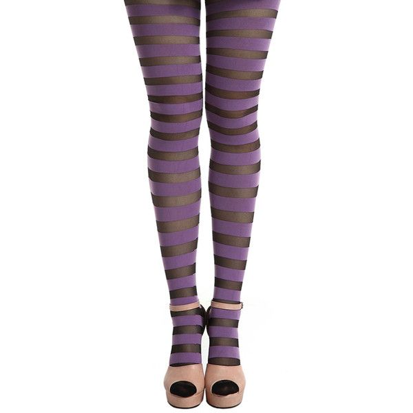 Wide Stripe Sheer Purple Tights (29 BRL) liked on Polyvore ...