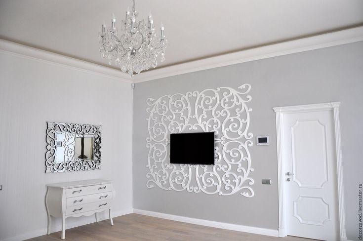Купить Обрамление телевизора Серебристый завиток - ажурный декор, дизайн интерьера, декоративные панели, перегородки