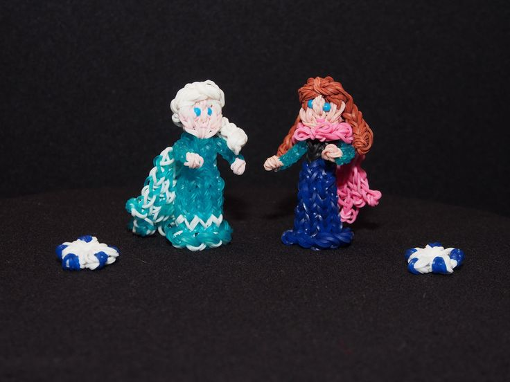 Handmade Rainbow loom Frozen's Elsa and Anna pencil toppers/finger puppets