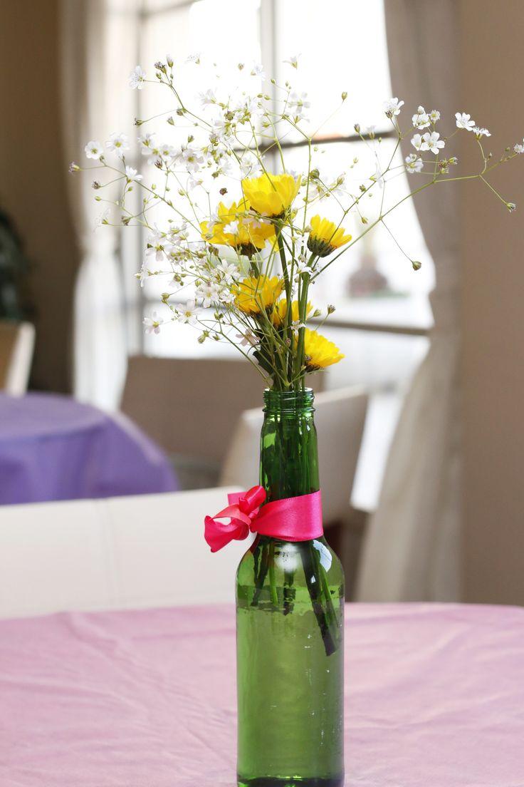 Artesanato Na Tv Arte Brasil ~ Arranjo simples e delicado para enfeite de mesa em festas Garrafas e Potes de vidro