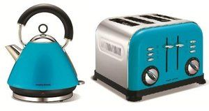 Morphy Richards Blue pyramid 1.5L Kettle and 4 Slice Toaster