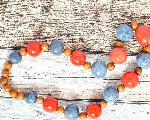 Fair Trade Kazuri Necklace - Blue Bead African Necklace - Coral Bead Wood Necklace - Kazuri Bead Upcycled Necklace - Blue Necklace - Kenyan thecoastaldesert The Coastal Desert handmade jewelry jewellery