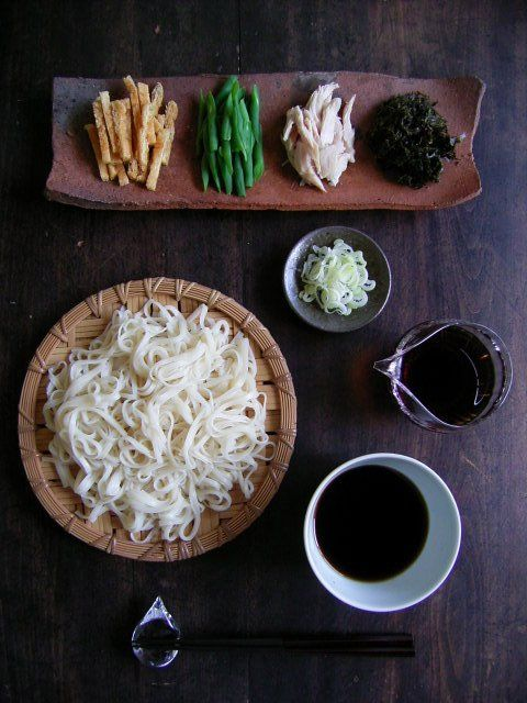 Photo: Cold Japanese Thin White Noodles with Five Toppings and Mentsuyu Soup | Akita Inaniwa Udon 秋田稲庭うどん