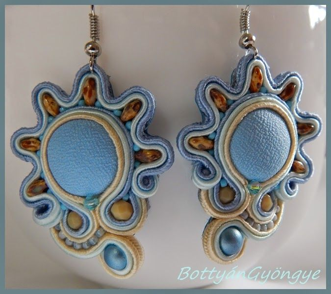 Kék nap - aszimmetrikus sujtás fülbevaló / Blue sun - asymmetrical earrings soutache