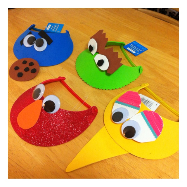 Elmo & Friends Birthday Visors: I found some really cute Elmo visors which I fell in love with so I decided to create their friends as well- Cookie Monster, Oscar The Grouch and Big Bird.