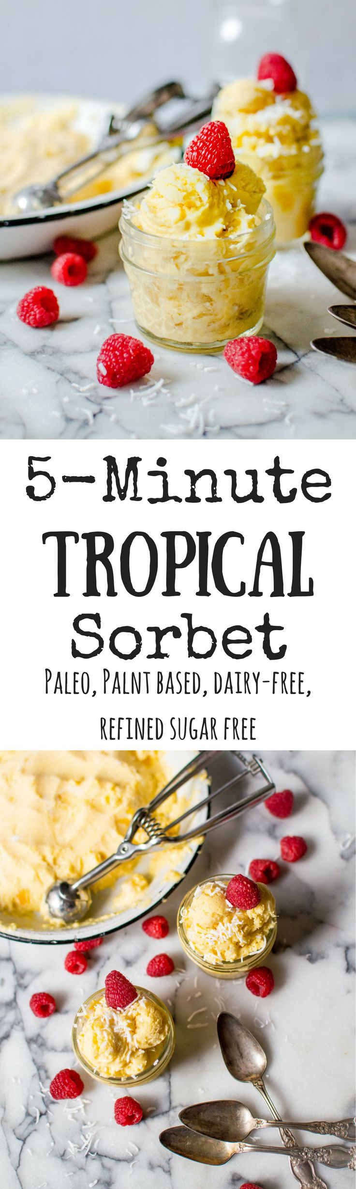 No ice cream maker needed for this simple, delicious and healthy recipe! The only thing that stands between you and this easy 5-Minute Tropical Sorbet is about 5 minutes and your food processor. Paleo, Plant Based, Dairy-Free simple paleo dessert