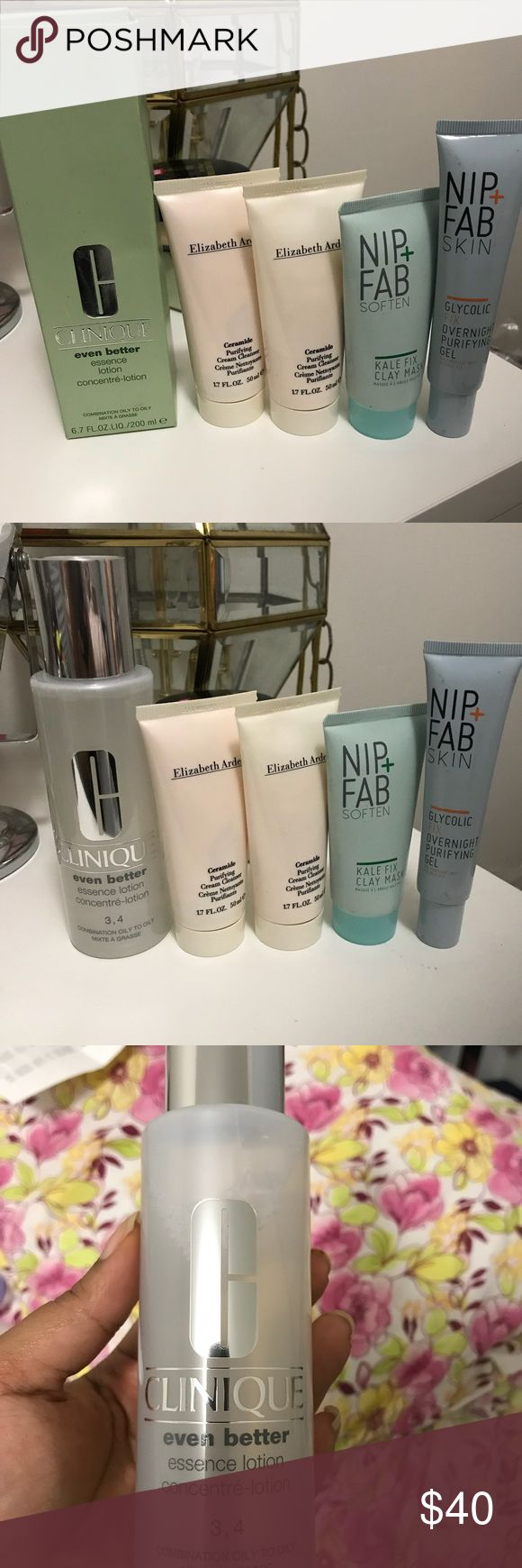 Skin care set Clinique even better skin lotion combination oily skin. Two Elizabeth Arden face wash. One nip fab face mask, and one overnight purifying gel. Face wash and overnight gel are the only products that are not sealed, but have not been used. All products are new. Price is firm. Other