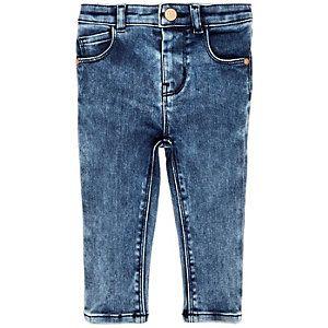 Gemarmerde skinny jeans met blauwe wassing voor mini girls