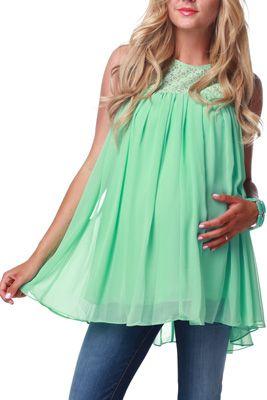 Mint Green Crochet Top Maternity Blouse