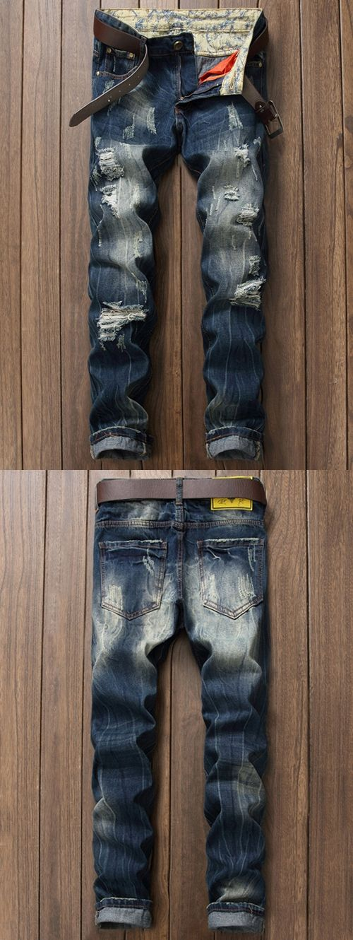Ripped Hole Mens Vintage Jeans Pants 2017 Summer Hip Hop Denim Pants Male Skinny Jean Trousers Pantalones Vaqueros Hombre