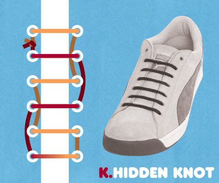 I'm into alternative lacing...  15 Amazing Ways to Tie Your Sneakers
