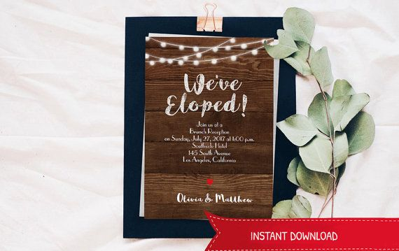 Wedding Elopement announcement Template wood string by WadaDesigns