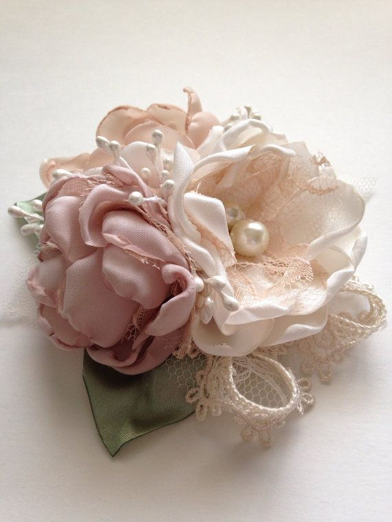 Pin Corsage - Cream, Champagne, and Pale Dusty Pink - Corsage Pin, Mother of the Bride, Special Occassion, Bridesmaids, Grandmother, Mother
