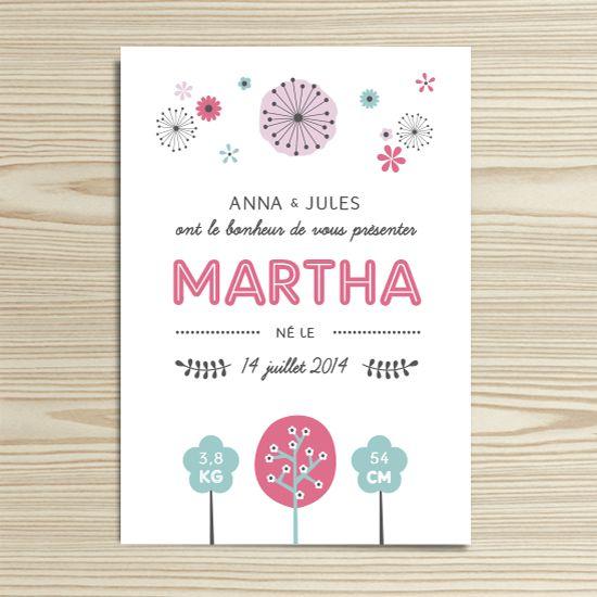 Tannilou - Faire-part naissance MARTHA | Modèle personnalisable gratuitement (texte et couleur)