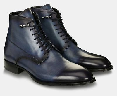 Handmade Mens leather boot, Mens Navy blue leather boot, Ankle leather boot men - Boots
