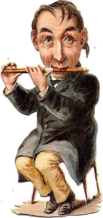 Oblaten Glanzbild scrap die cut chromo Musiker musicien musician Humor Orchester