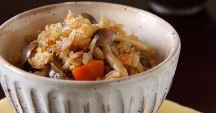 年中作れるのに、何故か秋になると食べたくなる、きのこたっぷり混ぜごはん。ツナ缶を入れる事でうまみUP!