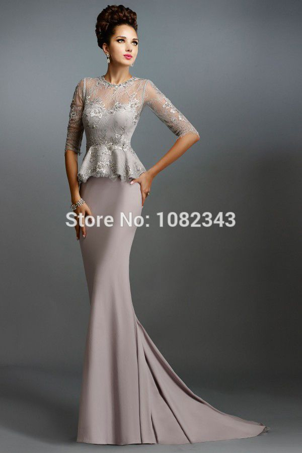 Champange-Lace-Long-Mermaid-Mother-of-the-Bride-Dresses-With-Half-Sleeves-2015-Peplum-Formal-Evening