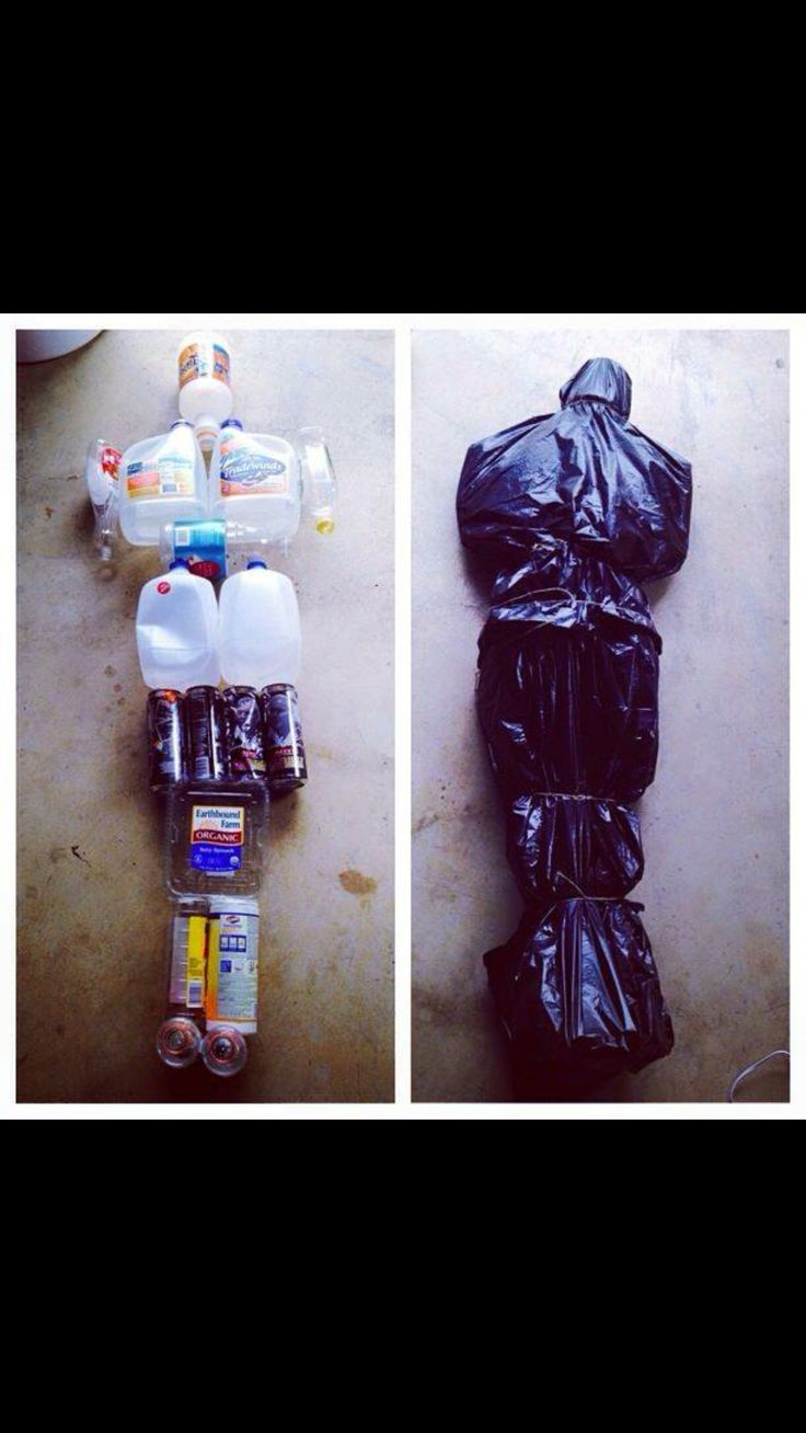 halloween body bag from recyclables i dont care for the body bag idea but it would make a cool mummy - Halloween Prop Ideas