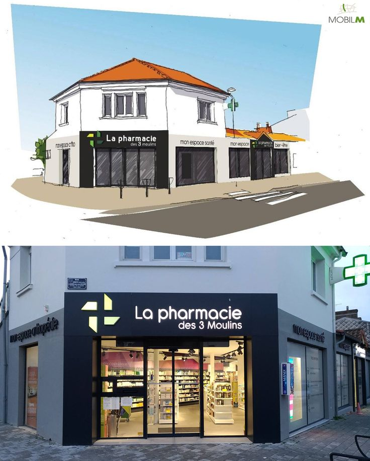 """Proyecto de fachada y de creación de marca by Mobil M Francia """"La Pharmacie des 3 Moulins"""" #farmacia #diseño #fachada #imagen #lafarmaciareinventada"""