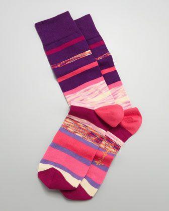 Space Dye Stripes Men\'s Socks, Purple by Arthur George by Robert Kardashian at Neiman Marcus.