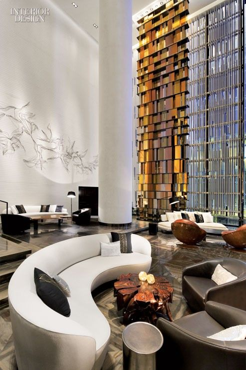 W hotel guangzhou yabu pushelberg lobby pinterest for Hotel lobby design trends