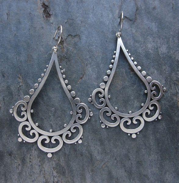 "Earrings   Sasha Bell. ""Ornate Tribal Drops"". Sterling silver"