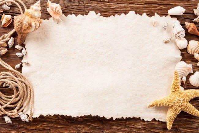 картинка веревка, бумага, морская звезда, доски, ракушки на рабочий стол, раздел Разное