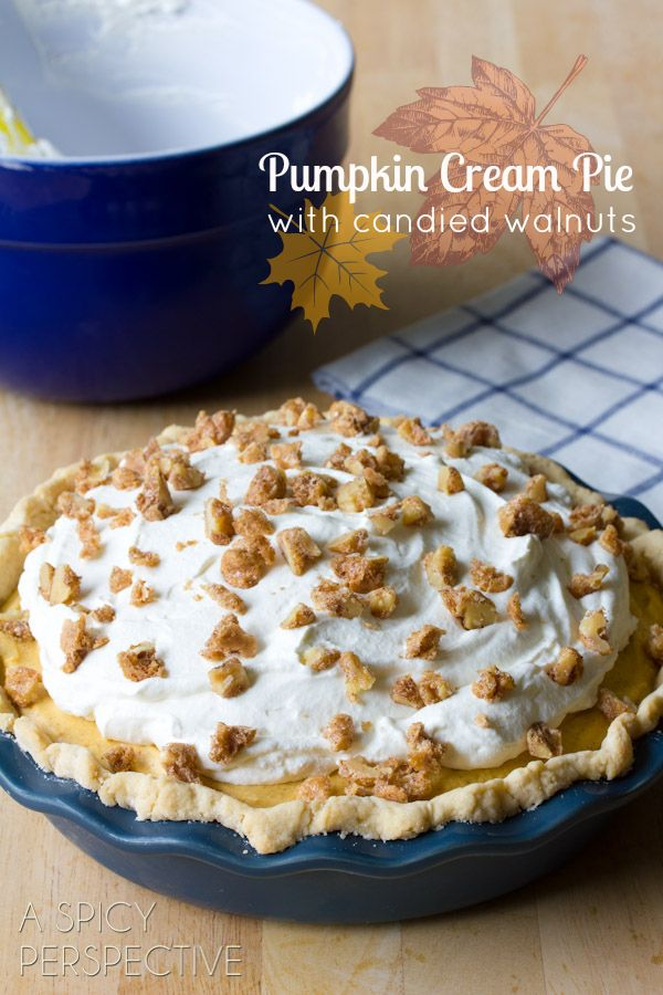 A luxurious creamy pumpkin pie that's a bit of a change from the old standby. This spiced cream pie is brimming with autumn flavors and is sure to delight your Thanksgiving guests! via A Spicy Perspective