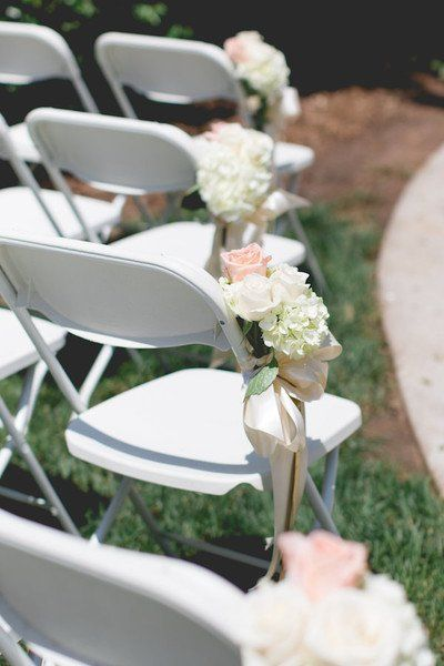 Classic wedding ceremony aisle markers - white + blush  hydrangeas and roses {Vision Expressions}