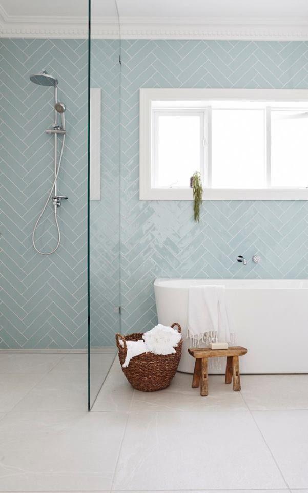 Baby Blue Herringbone Tiles In A Simple Bathroom With Wood Features Luxury Bathroom Tiles Patterned Bathroom Tiles Trendy Bathroom