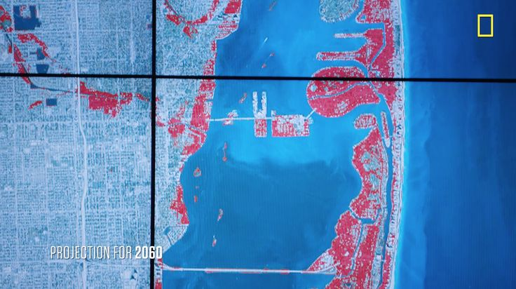 Maps depict projected sea level rise in Miami, Florida, in 2030, 2060, and 2100, showing impacts on the dense urban development of South Florida's largest metro area.