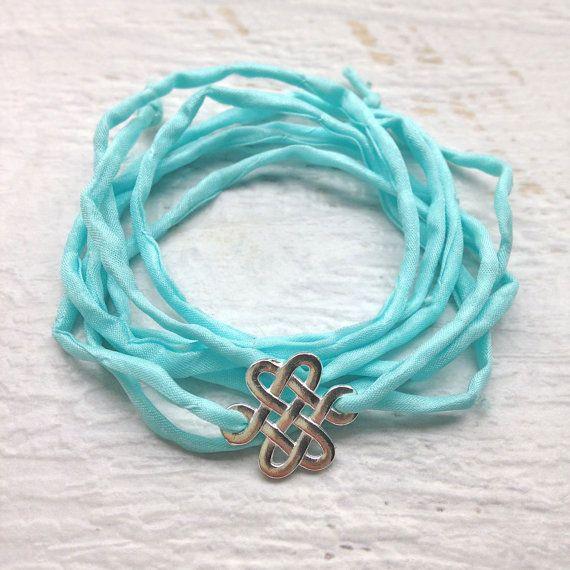 silk wrap bracelet aqua hand dyed silk wrap eternity bracelet bohemian jewelry by beachcombershop