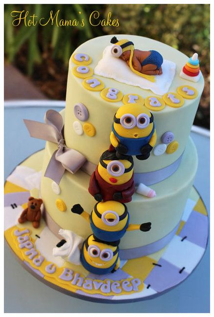 Minion themed baby shower! Cake by hotmamascakes - For all your cake decoration supplies, please visit craftcompany.co.uk