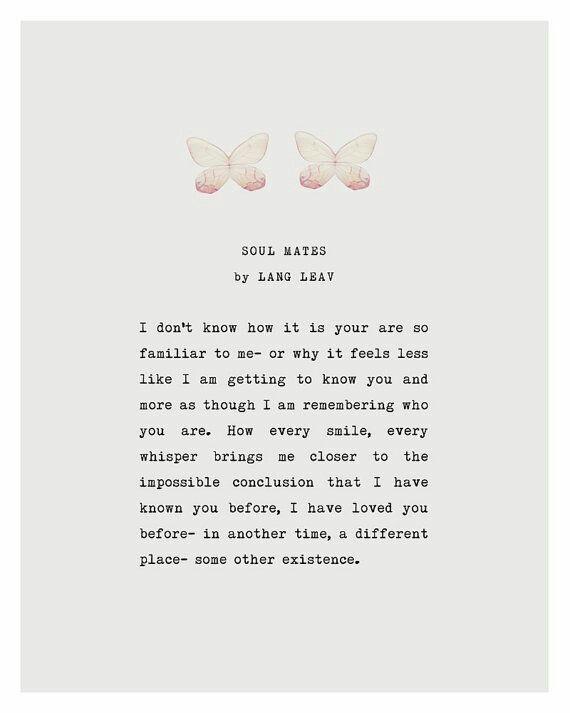 Lang Leav Love Poem, Soul Mates Love Poetry Art, Gifts For