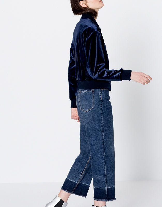 Velvet bomber jacket - Jackets - Clothing - Woman - PULL&BEAR Poland