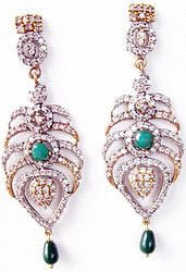 Hand-crafted brass metal chandleliers finely studded with gemstones and cubic zirconia (American diamond) stones.  Size: 23mm x 75mm