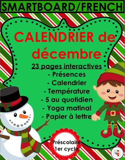 Calendrier interactif de décembre pour SmartBoard (TBI/TNI)- fichier Notbook de 28 pages colorées.