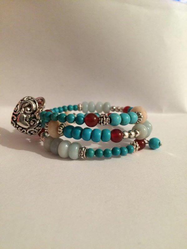 Wire wrap bracelet with multi gemstones